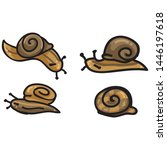 Cute four snail cartoon vector illustration motif set. Hand drawn isolated garden creepy crawlie elements clipart for brown helix shell blog, slimy bug graphic, gastropod web buttons.