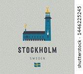 stockholm sweden cartoon... | Shutterstock .eps vector #1446225245