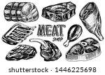 beef meat  pork steak  chicken... | Shutterstock .eps vector #1446225698