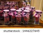 Small photo of VIENNA, AUSTRIA - June 30, 2019: Candied Violet in Demel (a famous pastry shop and chocolaterie established in 1786 in Vienna). The company bears the title of a Purveyor to the Imperial and Royal Cour