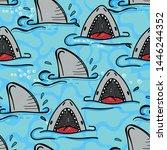 seamless  sketch  shark pattern ... | Shutterstock .eps vector #1446244352