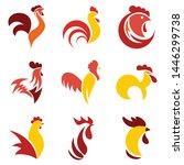 rooster logo set. flat set of... | Shutterstock .eps vector #1446299738