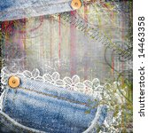 vintage background from jeans and lace - stock photo