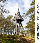The wooden clock tower, built in 1936, belongs to the chapel at Sandhamn in Stockholm archipelago.