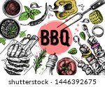 barbecue grill hand drawn food...   Shutterstock .eps vector #1446392675