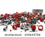 Closeup Pile of nuts and bolts from disassembled clutch isolated on white - stock photo