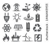 energy icons set on white...   Shutterstock . vector #1446445955