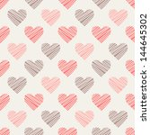 Seamless pattern with hand drawn hearts. St Valentine's day background. Cute texture with polka dot hearts