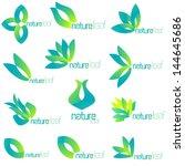 set of natural icons, leaf shapes, logo set