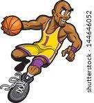 happy bald black basketball... | Shutterstock .eps vector #144646052