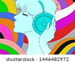 colorful man listening to music | Shutterstock . vector #1446482972
