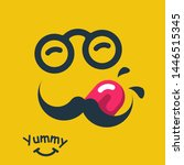 yummy smile with tongue and... | Shutterstock .eps vector #1446515345