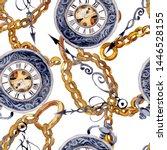 vintage old clock pocket watch. ... | Shutterstock . vector #1446528155