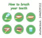 how to brush your teeth step by ... | Shutterstock . vector #1446529112
