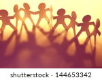 team of paper doll people... | Shutterstock . vector #144653342