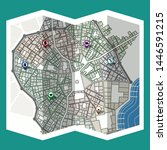 design map city gps with... | Shutterstock .eps vector #1446591215