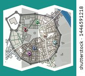 design map city gps with... | Shutterstock .eps vector #1446591218