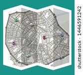 design map city gps with... | Shutterstock .eps vector #1446591242