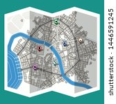 design map city gps with... | Shutterstock .eps vector #1446591245