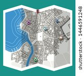 design map city gps with... | Shutterstock .eps vector #1446591248