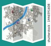 design map city gps with... | Shutterstock .eps vector #1446591608