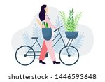 Woman Riding Bike. Woman With...