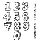 hand drawn 3d numbers. the... | Shutterstock .eps vector #1446723662
