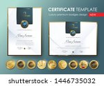 certificate template with ... | Shutterstock .eps vector #1446735032