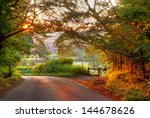 Wooded English Country Lane At...