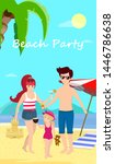 happy family at beach party.... | Shutterstock . vector #1446786638