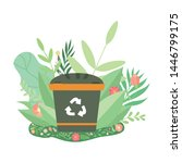 green recycle bin surrounded by ... | Shutterstock .eps vector #1446799175