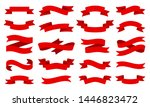 red ribbon scroll flat set.... | Shutterstock .eps vector #1446823472