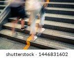 pedestrian walking upstairs... | Shutterstock . vector #1446831602
