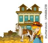 cowgirl   cowboy   wild west  ... | Shutterstock . vector #144686258