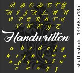 vector set of handwritten abc... | Shutterstock .eps vector #1446875435