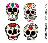 set of hand drawn mexican sugar ... | Shutterstock .eps vector #1446889772