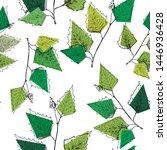 birch leaves pattern. hand...   Shutterstock .eps vector #1446936428