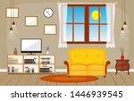 modern living room family house ... | Shutterstock .eps vector #1446939545