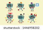 retro toy robot mascot set   Shutterstock .eps vector #1446958202