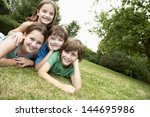 portrait of two young girls and ... | Shutterstock . vector #144695986