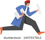 man in red beret artist running ... | Shutterstock .eps vector #1447017812