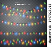 christmas lights set. vector... | Shutterstock .eps vector #1447028018