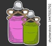 bottle with massage oil ... | Shutterstock .eps vector #1447031702