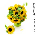 beautiful sunflowers with leafs ... | Shutterstock . vector #1447031972