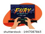tv set with a game screen and... | Shutterstock .eps vector #1447087865