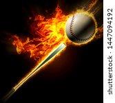 baseball fiery fire strike with ... | Shutterstock . vector #1447094192
