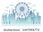 ferris wheel towers over the... | Shutterstock .eps vector #1447096772