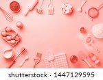 bakery ingredients over trendy... | Shutterstock . vector #1447129595