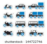 blue transport and travel icons ... | Shutterstock .eps vector #144722746