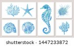 Set Of Sea Elements In Blue...